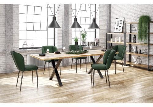 Stół Apex 160X90 dąb+czarny drewno+stal +6 szt krzesła k399