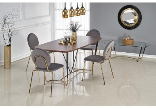 MANCHESTER stół, blat - orzech, nogi - czarny / złoty